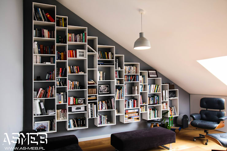 Biblioteka wisząca: styl , w kategorii Domowe biuro i gabinet zaprojektowany przez AS-MEB