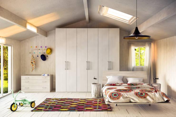 Camera A Shot: Camera da letto in stile in stile Moderno di de-cube