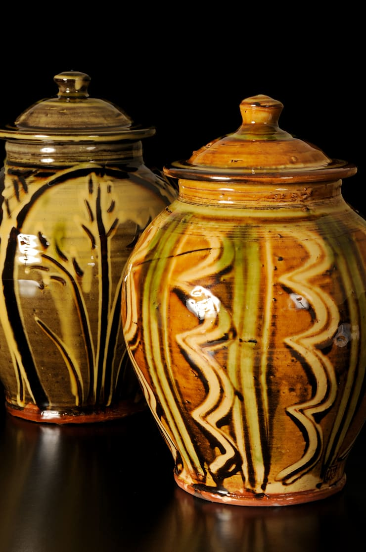 Slipware Lidded Jars:  Artwork by Fitch and McAndrew