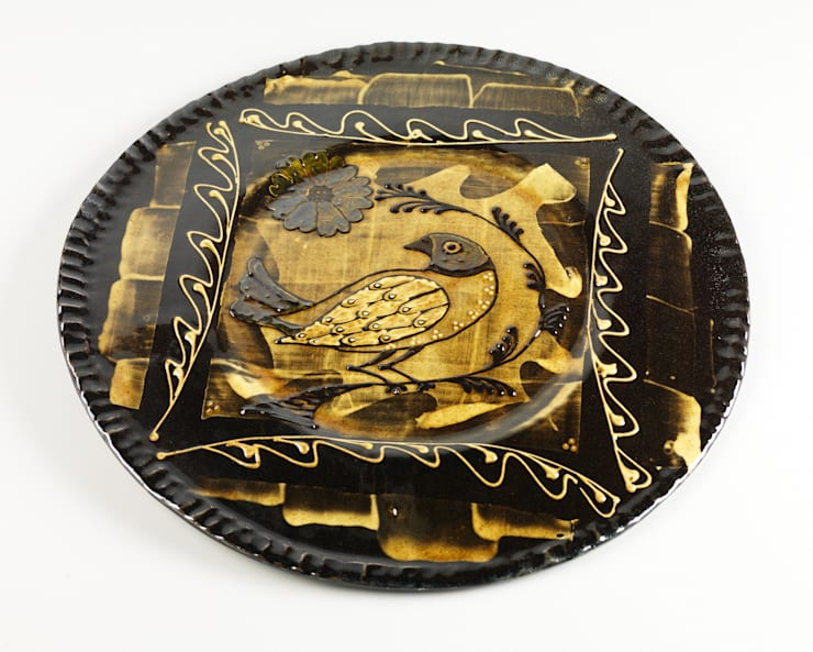 Slip Trail and Paper Resist Bird Charger:  Artwork by Fitch and McAndrew,