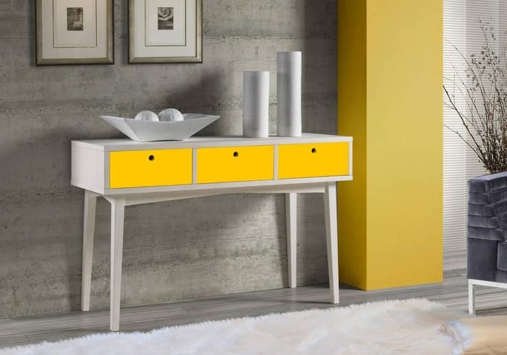 Aparador Vintage - Branco/Amarelo: Sala de jantar  por Sun House Móveis e Decorações