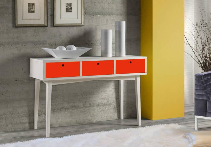 Aparador Vintage - Branco/Vermelho: Sala de jantar  por Sun House Móveis e Decorações