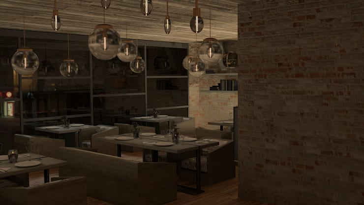 Diseño de mobiliario para restaurantes: Oficinas y tiendas de estilo  por Zono Interieur