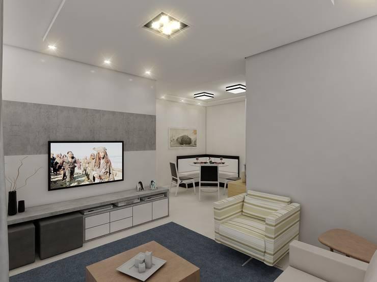 Apartamento AG: Salas de estar  por Merlincon Prestes Arquitetura,Moderno