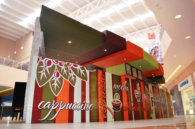 Café Frappisimo Galerías Campeche: Espacios comerciales de estilo  por Workshop, diseño y construcción