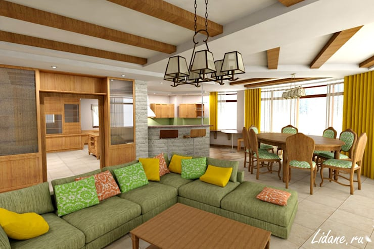 Гостиная в частном коттедже. Сочи: Гостиная в . Автор – Lidiya Goncharuk