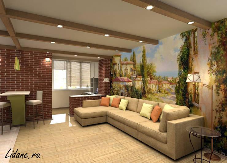 Гостиная зона в двухкомнатной квартире. Москва: Гостиная в . Автор – Lidiya Goncharuk