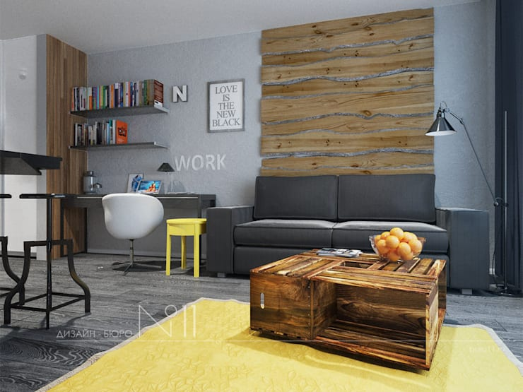 Livings de estilo industrial por Дизайн-бюро № 11