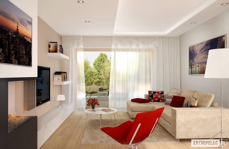 Projekt domu Iwo G1 | salon : styl , w kategorii Salon zaprojektowany przez Pracownia Projektowa ARCHIPELAG