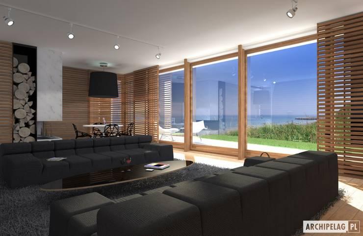 Projekt domu EX 3 G1 | salon : styl , w kategorii Salon zaprojektowany przez Pracownia Projektowa ARCHIPELAG,Nowoczesny