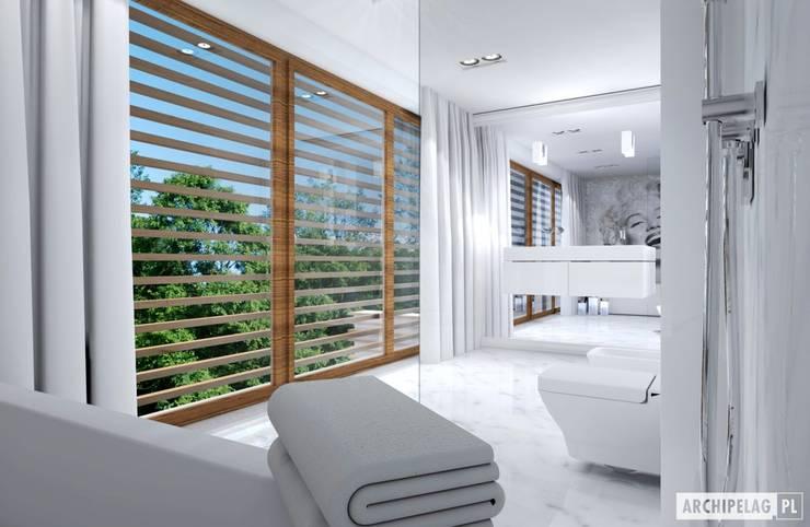Projekt domu EX 3 G1 | łazienka: styl , w kategorii Łazienka zaprojektowany przez Pracownia Projektowa ARCHIPELAG,Nowoczesny