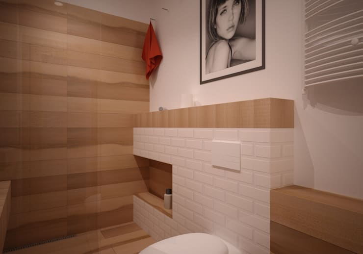 Mieszkanie Kamila: styl , w kategorii Łazienka zaprojektowany przez NowaConcept,Nowoczesny