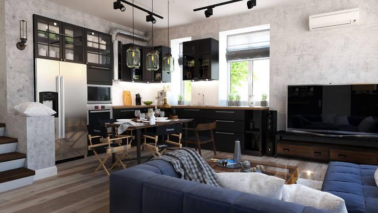 Кухня-гостиная: Гостиная в . Автор – Loft&Home