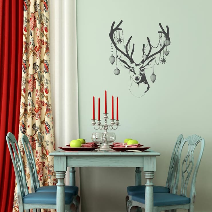 Christmas deer head with baubles wall sticker decoration :  Walls & flooring by Vinyl Impression