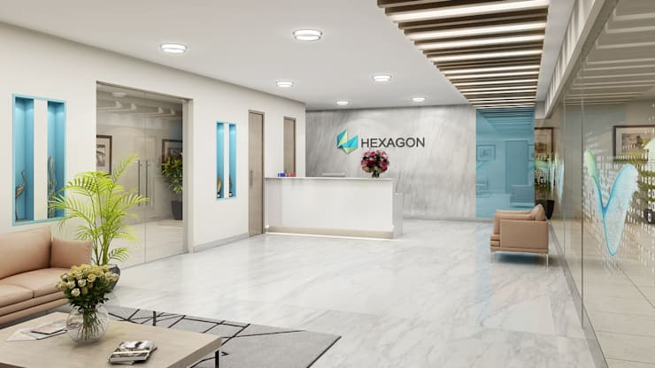 Reception Area:  Offices & stores by FUSSON STUDIO