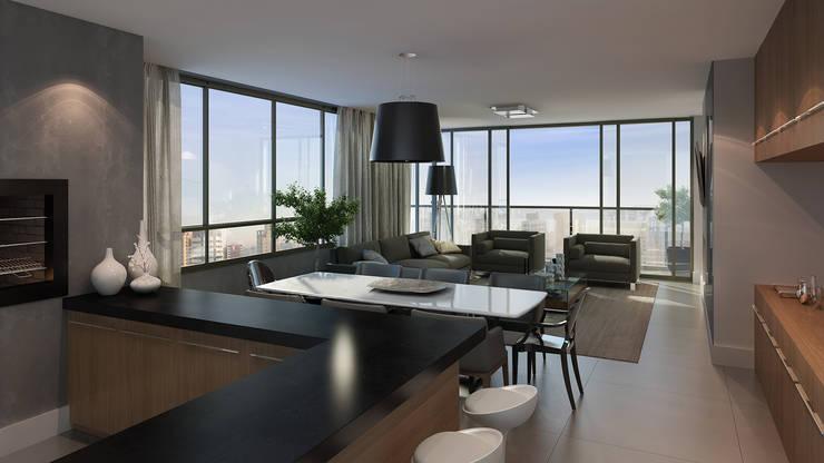 Estar / Jantar: Salas de estar  por André Petracco Arquitetura