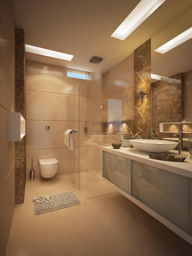 Son's Bathroom: modern Bathroom by FUSSON STUDIO