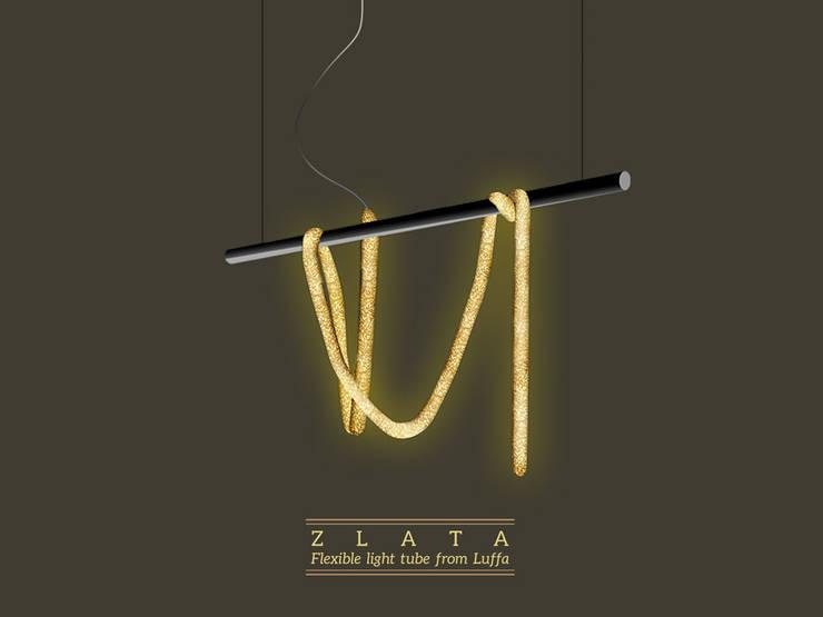 Zlata- Flexible tube light made from luffa plant : Soggiorno in stile in stile Moderno di KIMXGENSAPA