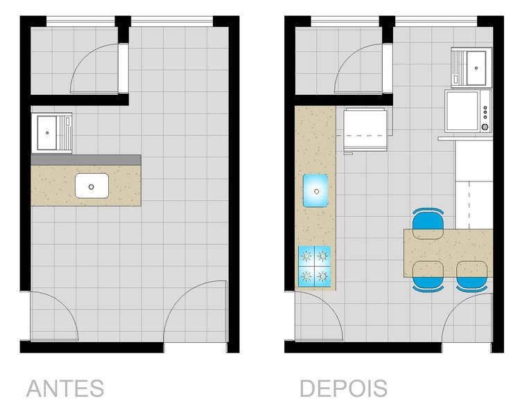 Planta Cozinha Antes e depois:   por Arquiteta Elaine Silva