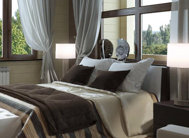 Дом из бруса 2: Спальни в . Автор – Студия Архитектуры и Дизайна Алисы Бароновой
