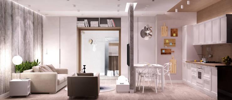 Белый лофт: Гостиная в . Автор – QUADRUM STUDIO,