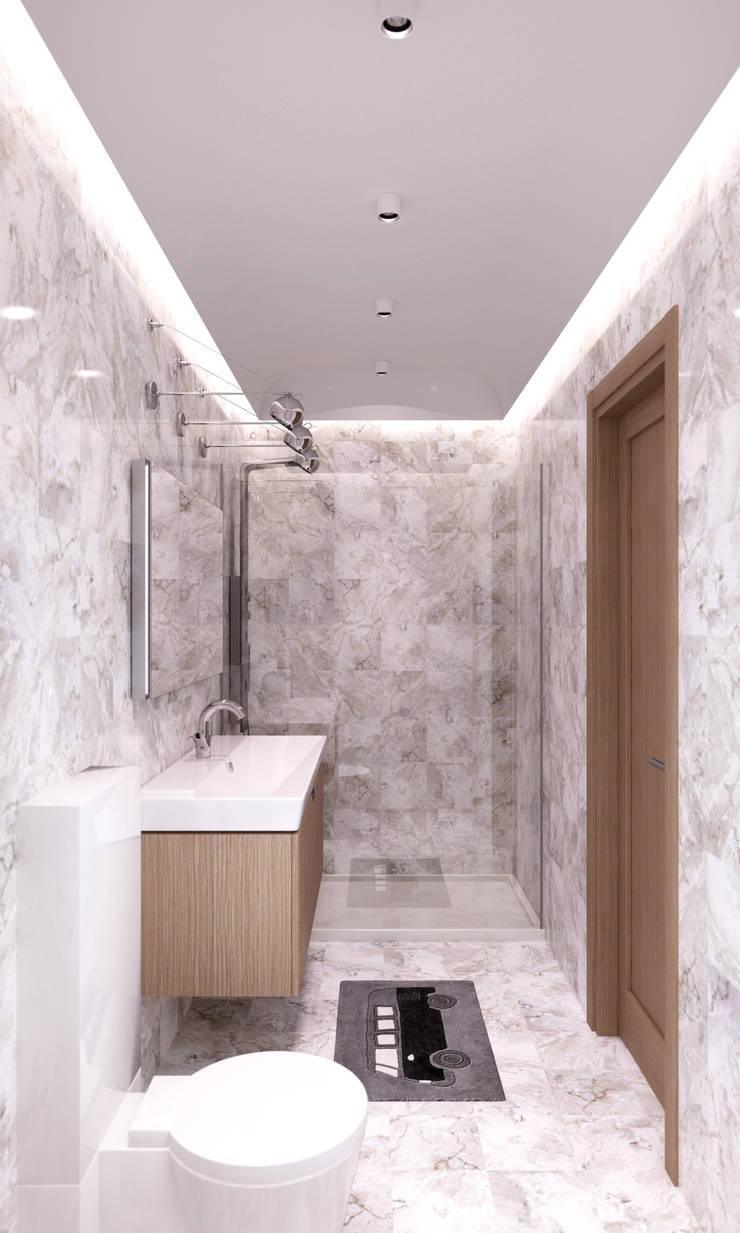Белый лофт: Ванные комнаты в . Автор – QUADRUM STUDIO,