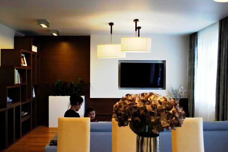 Projekt wnętrza pod Łodzią: styl , w kategorii Salon zaprojektowany przez Projektowanie wnętrz Berenika Szewczyk,Nowoczesny Drewno O efekcie drewna