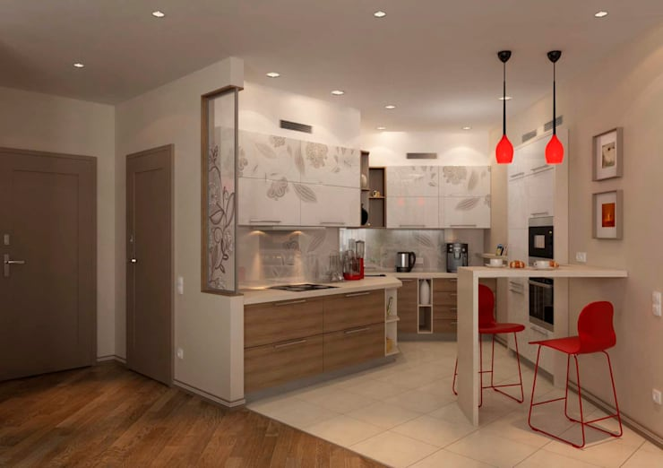 Дизайн интерьера 4-ком. квартиры: Кухни в . Автор – GP-ARCH