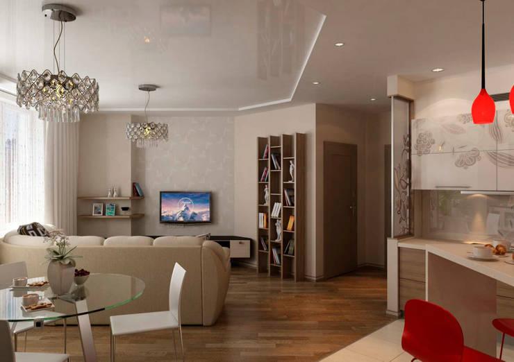 Дизайн интерьера 4-ком. квартиры: Гостиная в . Автор – GP-ARCH