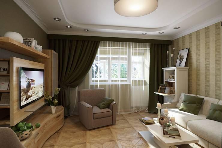 ПРИТЯЖЕНИЕ ЦВЕТА: Гостиная в . Автор – Дизайн студия Алёны Чекалиной