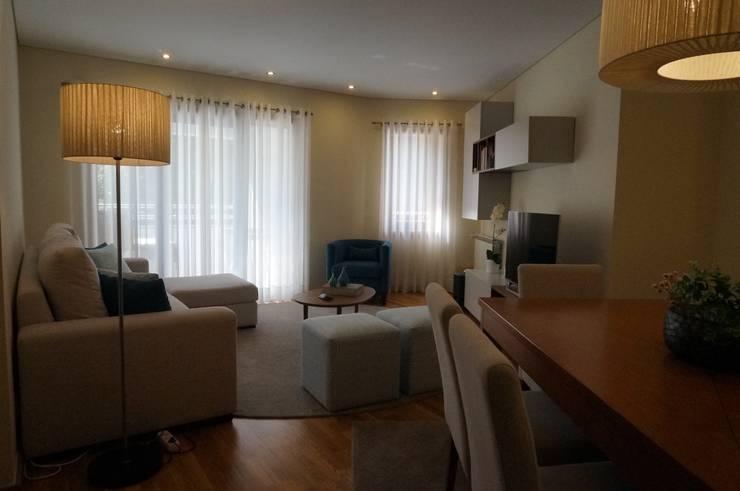 Apartamento Porto: Salas de estar modernas por Andreia Miranda - Design de interiores