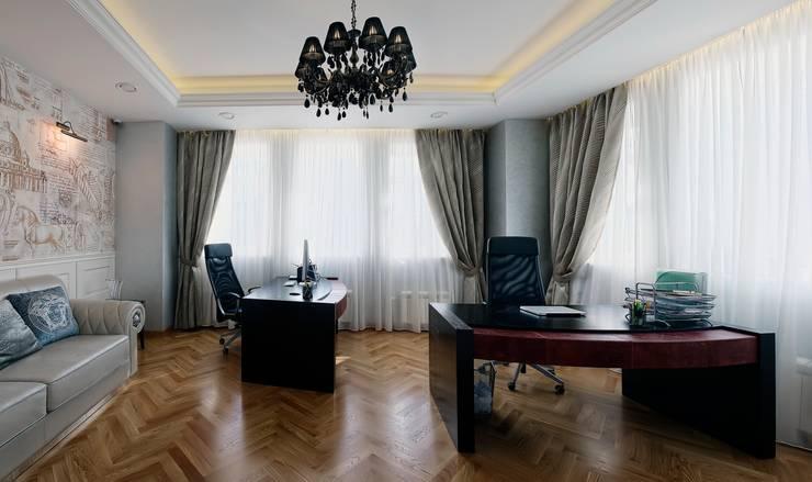 Коттедж Новая рига, 1000 кв.м : Рабочие кабинеты в . Автор – ELLE DESIGN STUDIO,