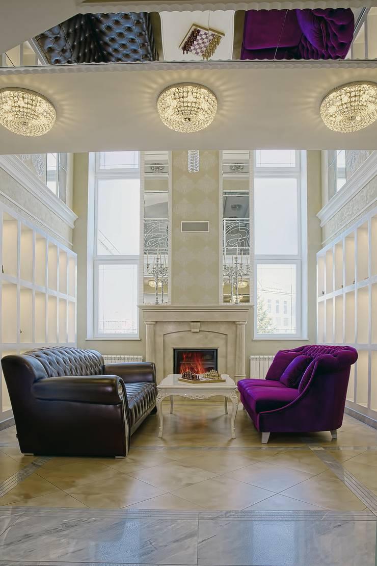 Коттедж Новая рига, 1000 кв.м : Гостиная в . Автор – ELLE DESIGN STUDIO,