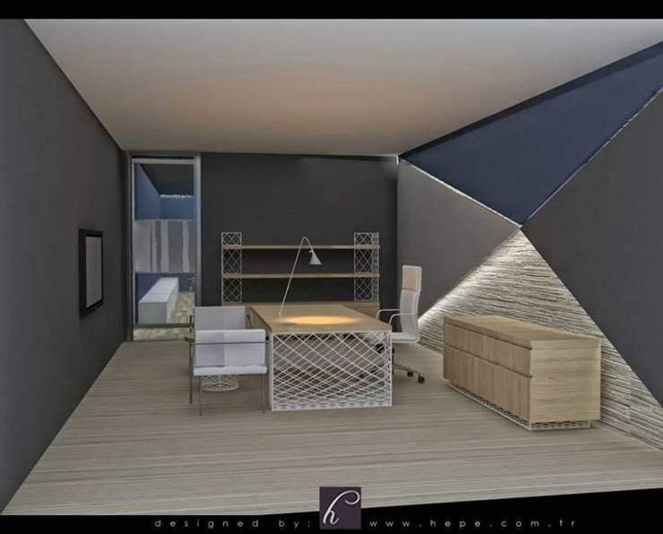 HePe Design interiors – Bilge İnox:  tarz Çalışma Odası, Modern