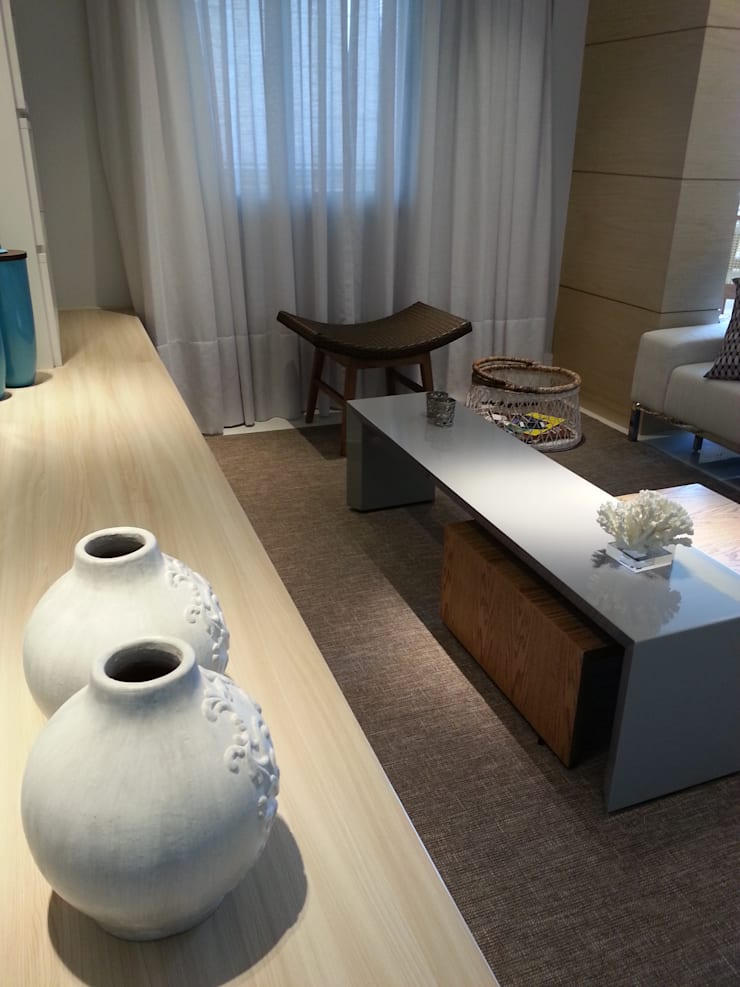 Detalhes da sala de estar.: Salas de estar modernas por Lucio Nocito Arquitetura e Design de Interiores