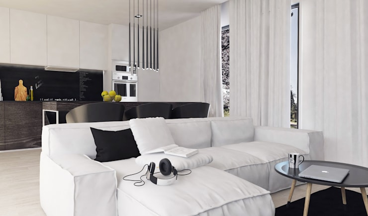 Salon z ciemnymi akcentami: styl , w kategorii Salon zaprojektowany przez FOORMA Pracownia Architektury Wnętrz