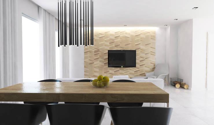 Salon z kuchnią: styl , w kategorii Jadalnia zaprojektowany przez FOORMA Pracownia Architektury Wnętrz