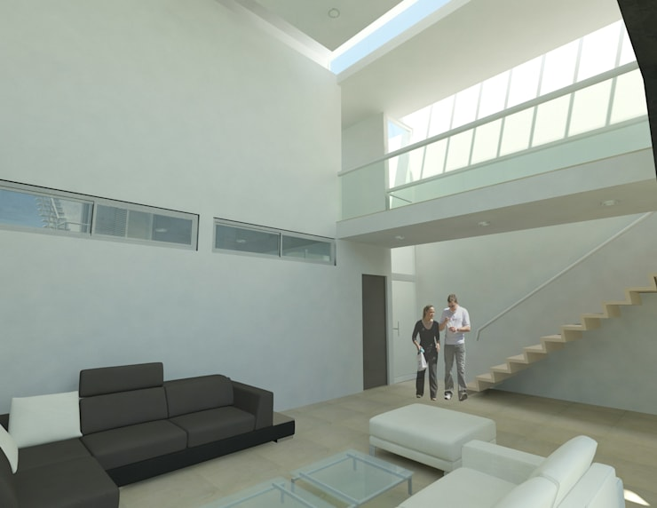 CASA M y E: Salas de estilo  por Flores Rojas Arquitectura