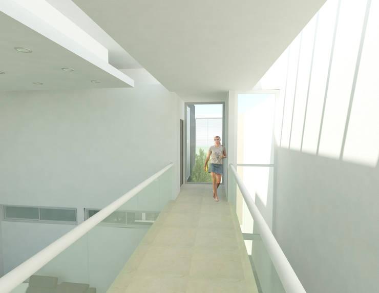 CASA M y E: Terrazas de estilo  por Flores Rojas Arquitectura