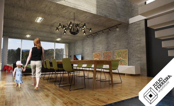 Casa XY: Salas de jantar modernas por Julio Ferreira Arquitetura