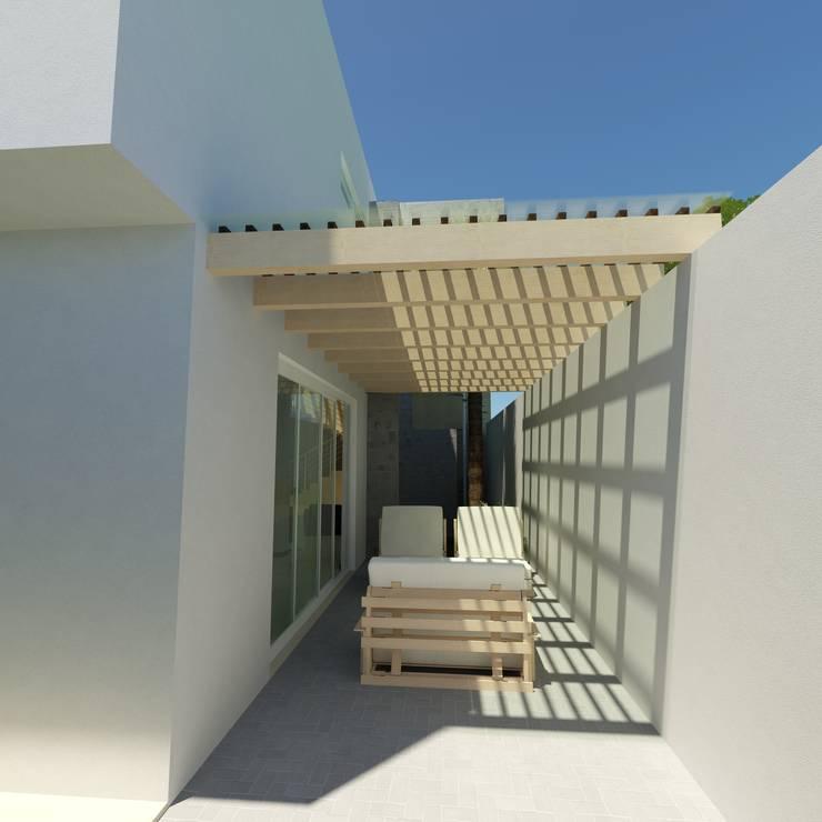 CASA CAÑADA DEL REFUGIO: Terrazas de estilo  por Flores Rojas Arquitectura