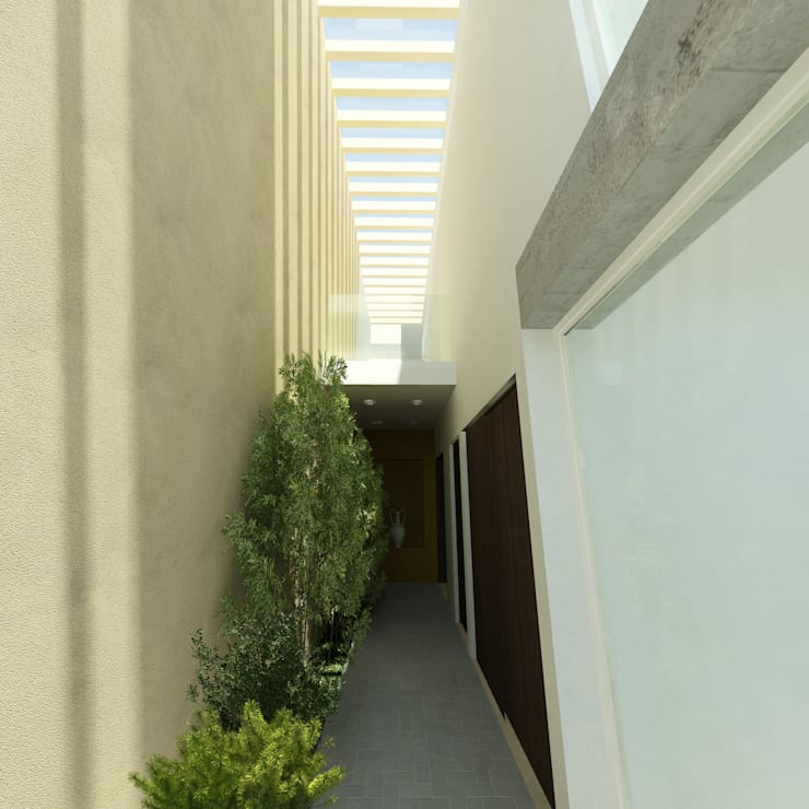 CASA CAÑADA DEL REFUGIO: Pasillos y recibidores de estilo  por Flores Rojas Arquitectura