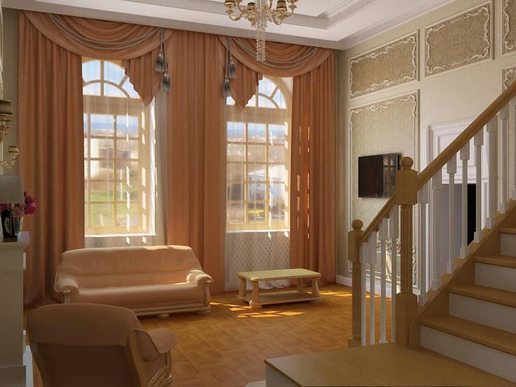 Три стиля: Гостиная в . Автор – Дизайн студия Александра Скирды ВЕРСАЛЬПРОЕКТ,