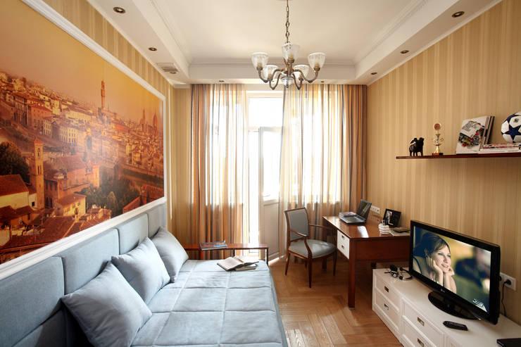 غرفة نوم تنفيذ Дизайн студия Александра Скирды ВЕРСАЛЬПРОЕКТ