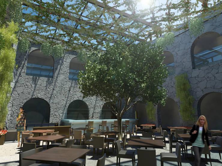 R e s t a u r a n t e P a t i o Andaluz: Restaurantes de estilo  por Flores Rojas Arquitectura