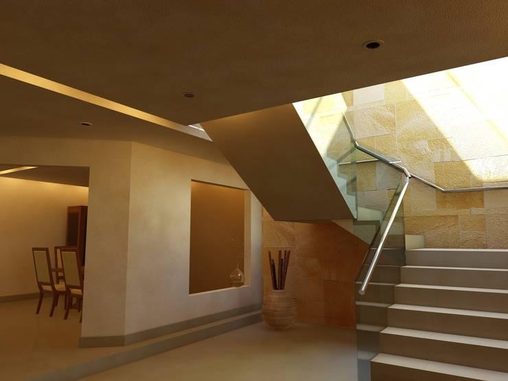 Remodelación Casa Lomas de Arbide: Pasillos y recibidores de estilo  por Flores Rojas Arquitectura