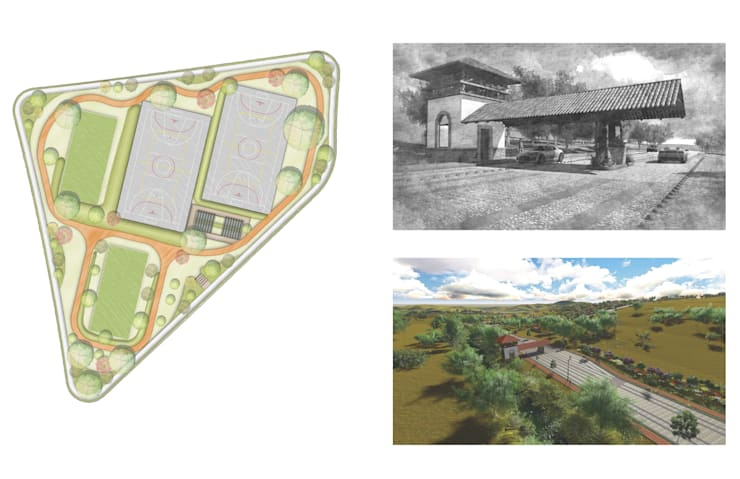 Acceso Fraccionamiento Vista Cañada.: Casas de estilo  por Flores Rojas Arquitectura