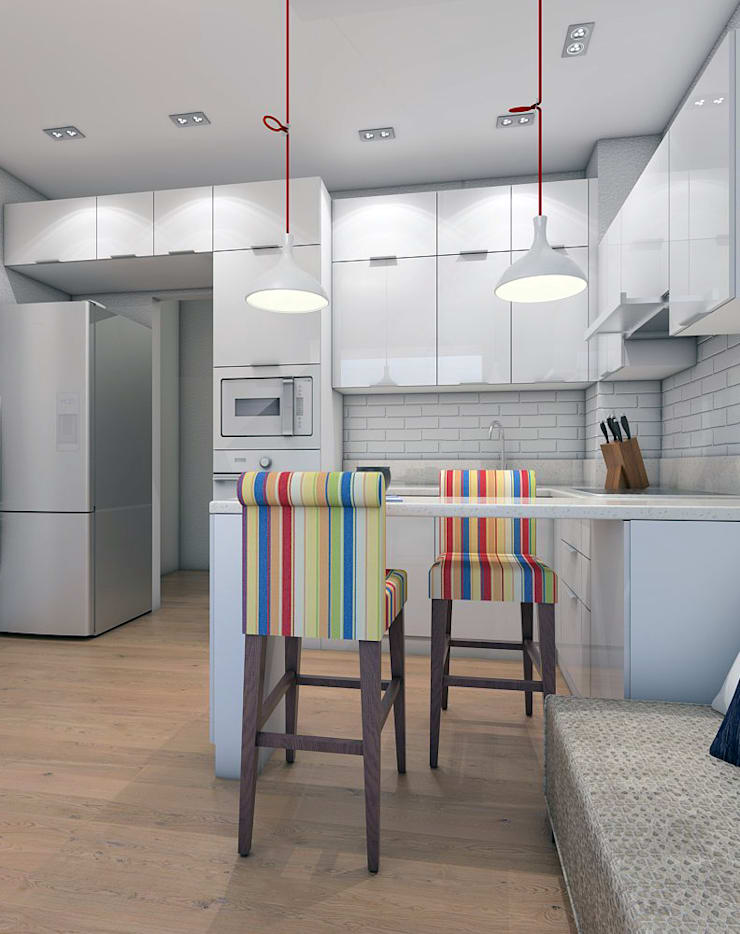 Проект кухонного гарнитура на 12.5 кв.м.: Кухня в . Автор – MARIA MELNICOVA студия SIERRA,