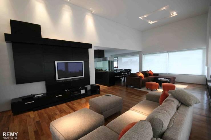Casa de la Cascada: Livings de estilo moderno por Remy Arquitectos