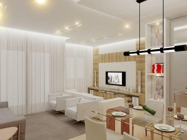Apartamento FL: Salas de estar  por Merlincon Prestes Arquitetura